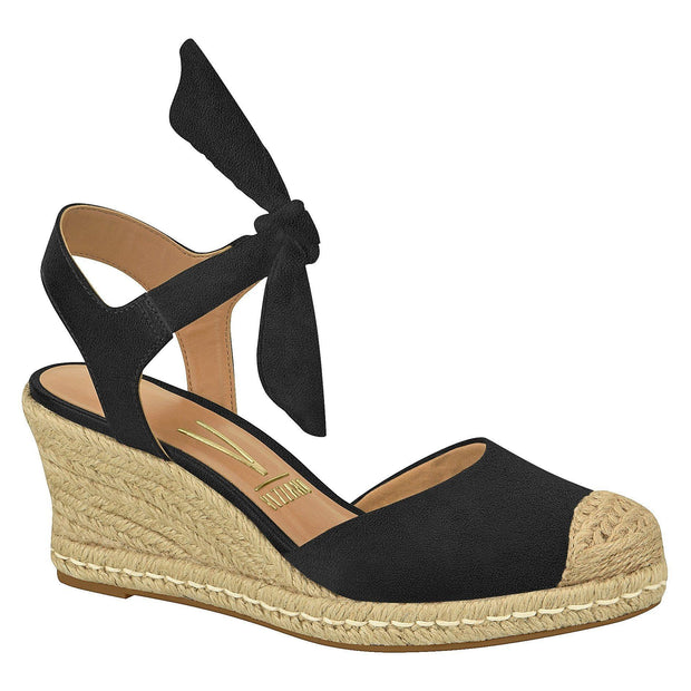 Vizzano 1277-105 Espadrille Wedge with Tie-up Ankle Strap in Black Suede