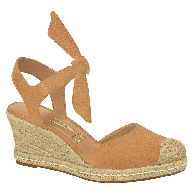 Vizzano 1277-105 Espadrille Wedge with Tie-up Ankle Strap in Camel Suede