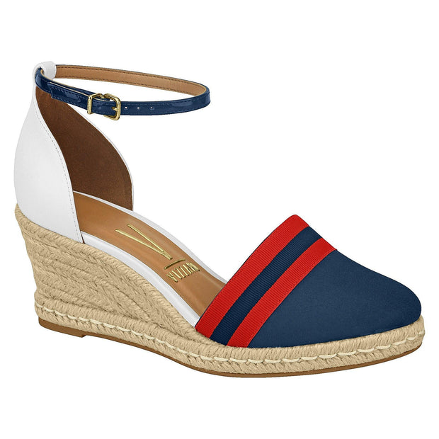Vizzano 1277-206 Closed Toe Wedge in White/Navy/Red