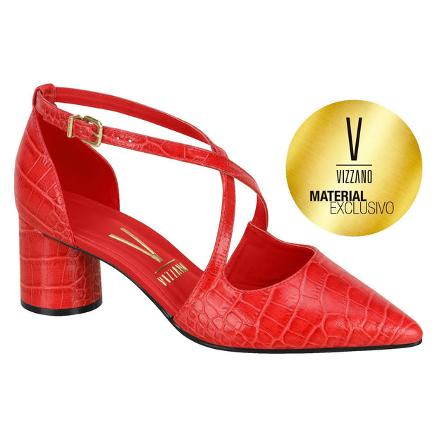 Vizzano 1279-201 Low Heel Pump in Red Croc