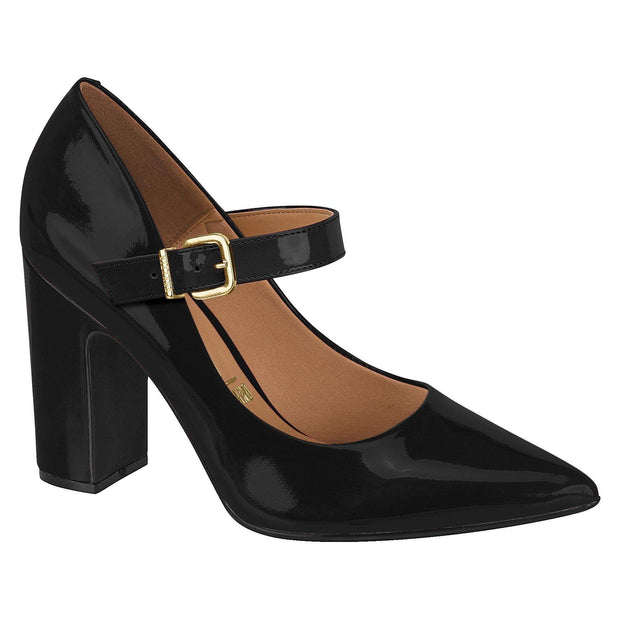 Vizzano 1285-101 Block Heel Mary-Jane Pump in Black Patent