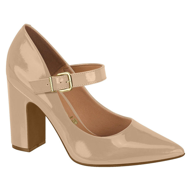 Vizzano 1285-101 Block Heel Mary-Jane Pump in Beige Patent