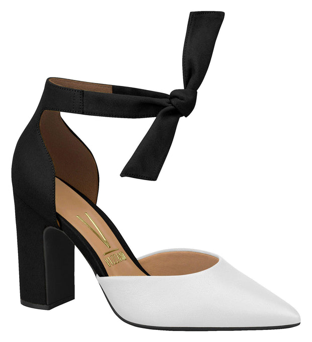 Vizzano 1285-105 Block Heel Ankle Tie Pump in White / Black