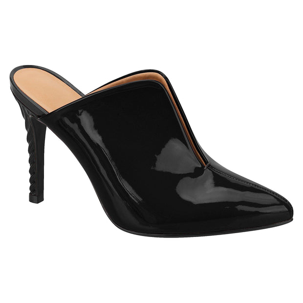 Vizzano 1289-100 Stiletto Mule in Black Patent
