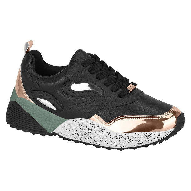 Vizzano 1296-202 Fashion Sneaker in Black/Rose Gold