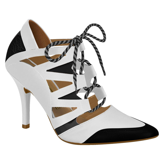 Vizzano 1318-104 Lace-up Stiletto Ankle Boot in White / Black