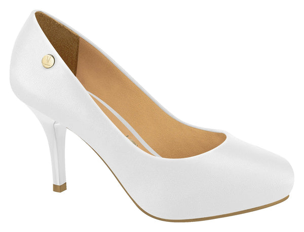 Vizzano 1781-407 Closed Toe Pump in White Napa