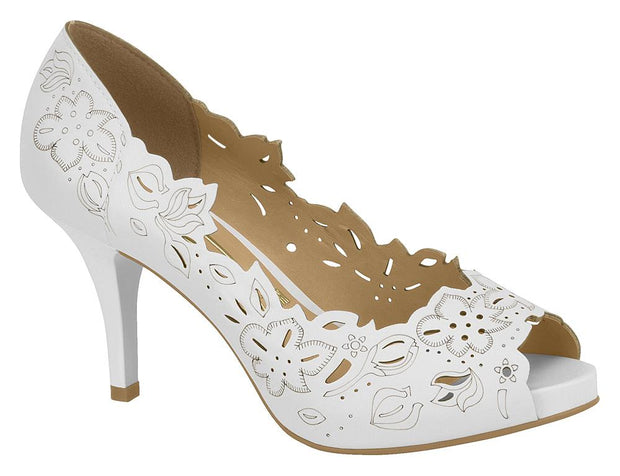 Vizzano 1781-446 Floral Cut-out Peeptoe in White Napa