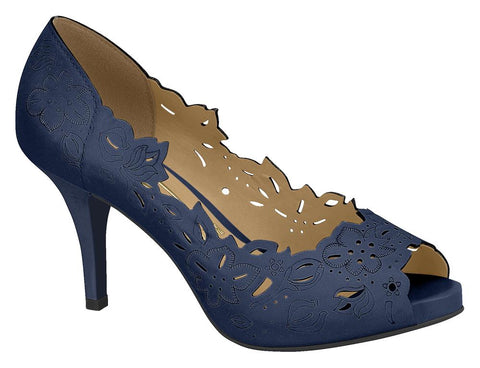 Vizzano 1781-446 Floral Cut-out Peeptoe in Navy Napa
