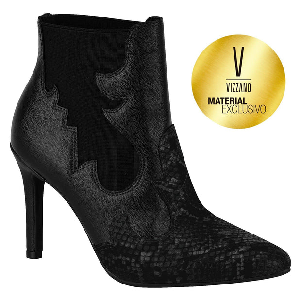 Vizzano 3049-224 Pointy Toe Stiletto Ankle Boot in Black Patent
