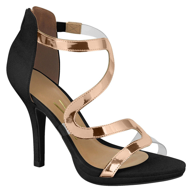 Vizzano 6210-471 Heeled Sandal with Perspex Details in Black/Rose Gold