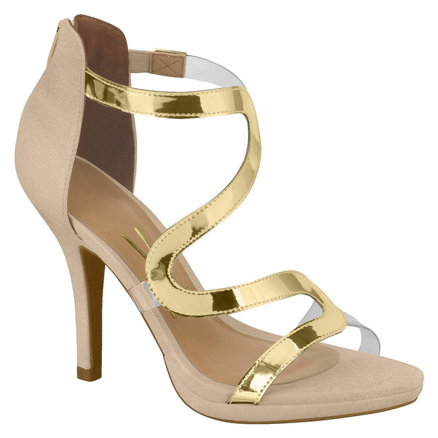 Vizzano 6210-471 Heeled Sandal with Perspex Details in Beige/Gold