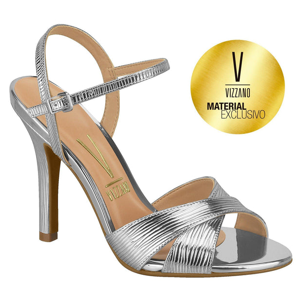 Vizzano 6249-144 High Heeled Evening Sandals in Silver