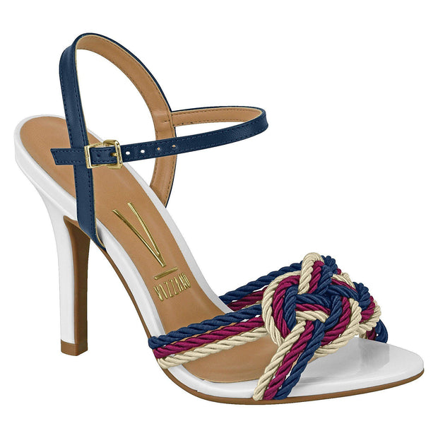 Vizzano 6249-154 High Heel Sandal with Nautical Detail in White Sandals Vizzano