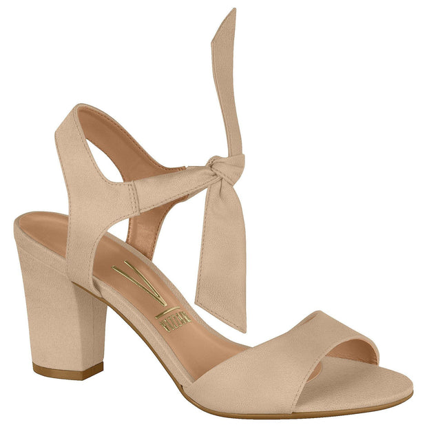 Vizzano 6262-247 Block Heel Sandal with Tie Up Ankle Strap in Beige Suede