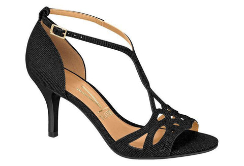 Vizzano 6276-105 Low Heel Evening Sandal in Black Satin