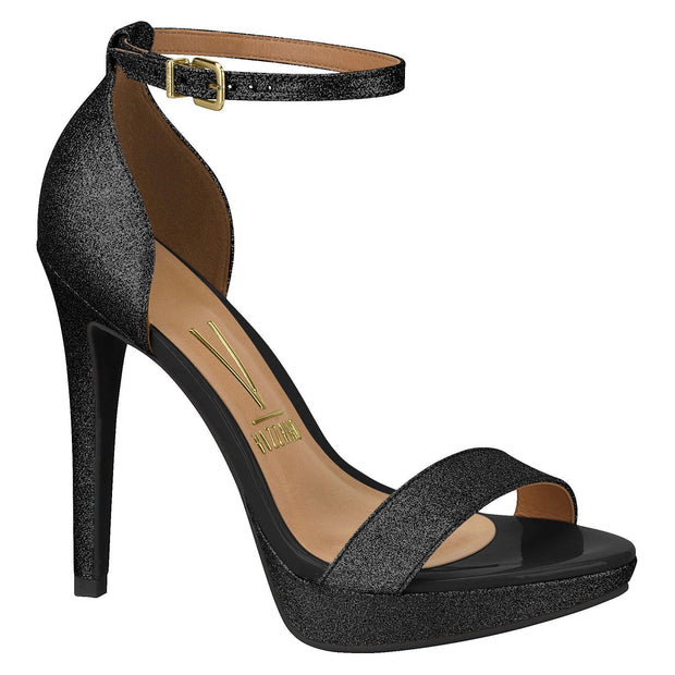 Vizzano 6278-104 High Heel Sandal in Black Shimmer
