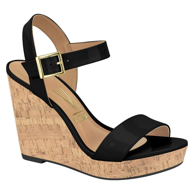 Vizzano 6283-100 Heeled Wedge in Black Patent