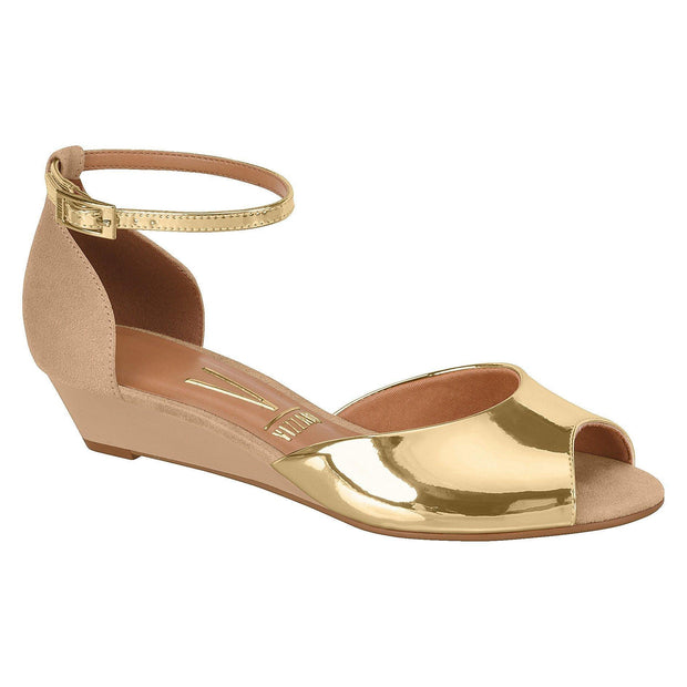 Vizzano 6285-111 Low Heel Wedge in Gold / Beige