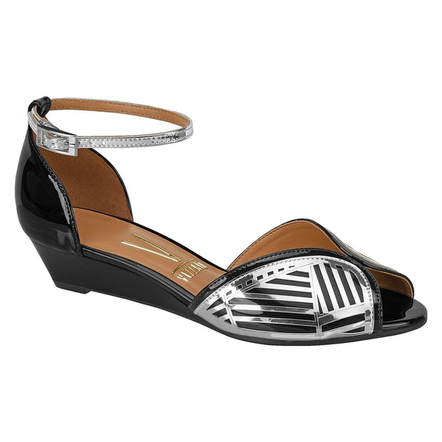 Vizzano 6285-112 Low Heel Wedges in Black/Silver