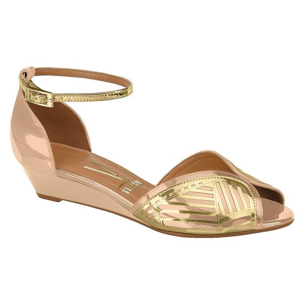 Vizzano 6285-112 Low Heel Wedges in Beige/Gold Patent