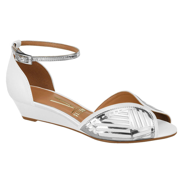 Vizzano 6285-112 Low Heel Wedges in White / Silver