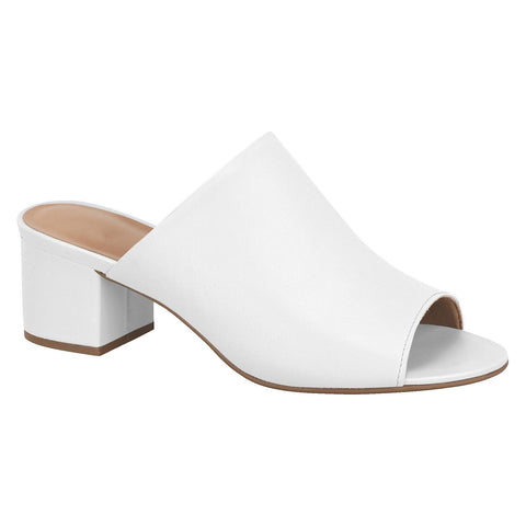 Vizzano 6291-130 Low Heel Slip-on Mule in White Napa