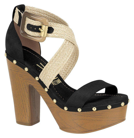 Vizzano 6297-104 Block Heel Platform Sandal in Black / Natural