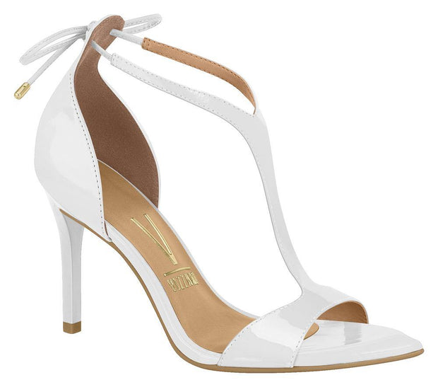 Vizzano 6301-102 High Heel T-Bar Sandal in White Patent