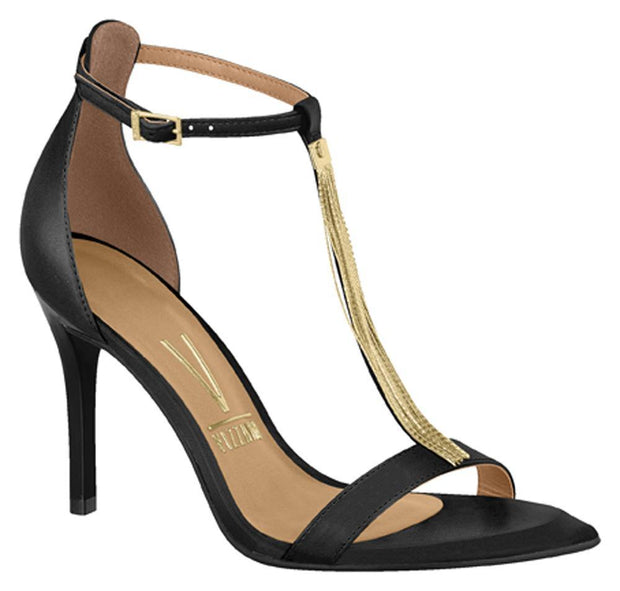 Vizzano 6301-103 High Heel Gold Chain T-Bar Sandal in Black Napa