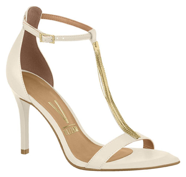 Vizzano 6301-103 High Heel Gold Chain T-Bar Sandal in Off White Napa