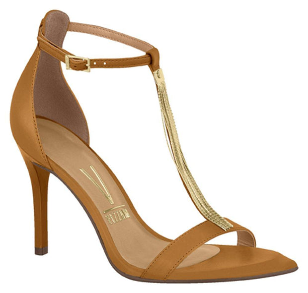 Vizzano 6301-103 High Heel Gold Chain T-Bar Sandal in Caramel Napa