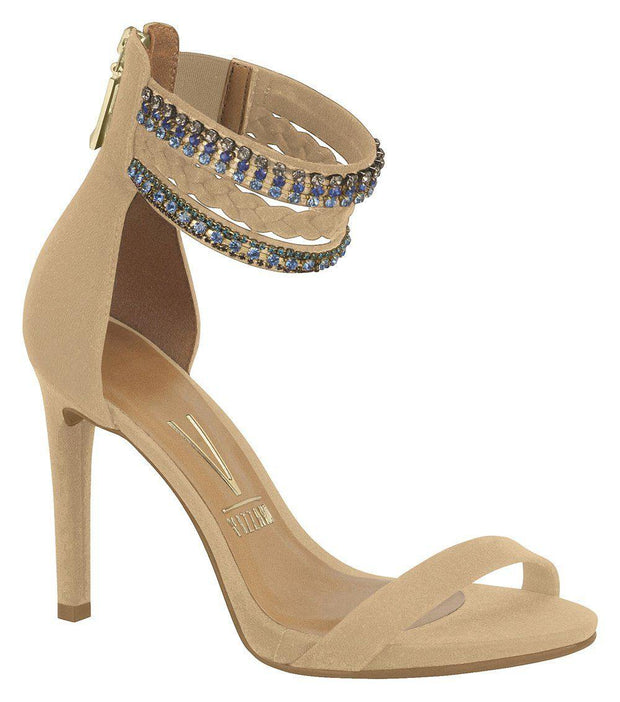Vizzano 6302-104 High Heel Jewelled Ankle Strap Sandal in Beige Suede