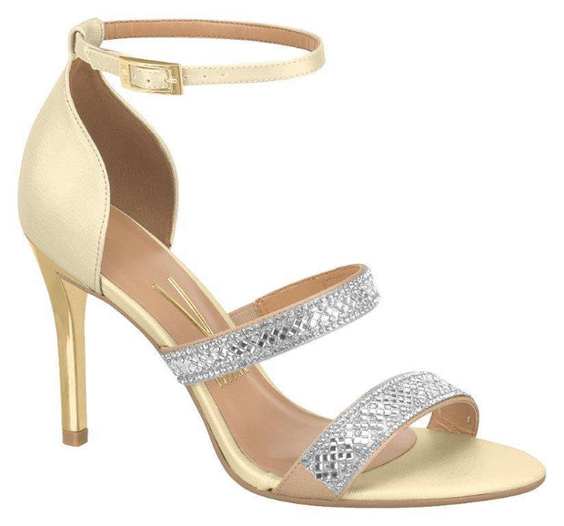 Vizzano 6306-313 High Heel Evening Sandal in Beige / Gold