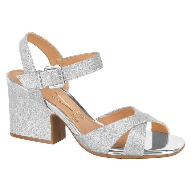 Vizzano 6349-101 Block Heel Evening Sandal in Silver Glitter