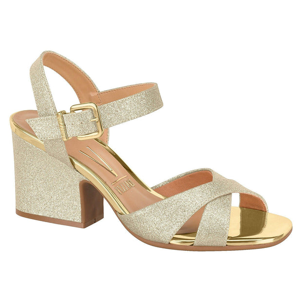 Vizzano 6349-101 Block Heel Evening Sandal in Gold Glitter