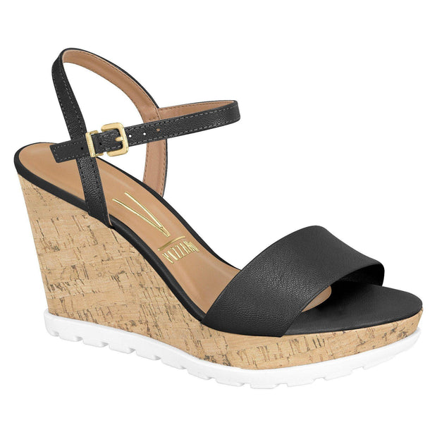 Vizzano 6353-102 Black Espadrille Wedge with White Sole