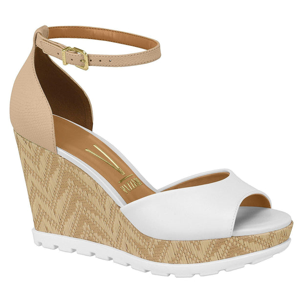 Vizzano 6353-105 Espadrille Wedge in White/Beige