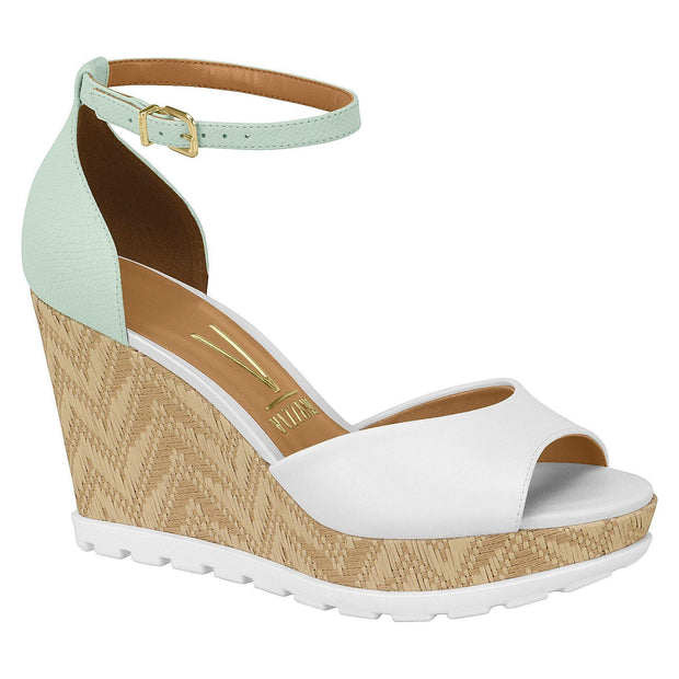 Vizzano 6353-105 Espadrille Wedge in White/Mint