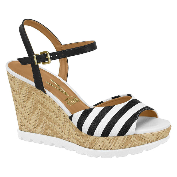 Vizzano 6353-106 Black/White Stripes Espadrille Wedge with White Sole