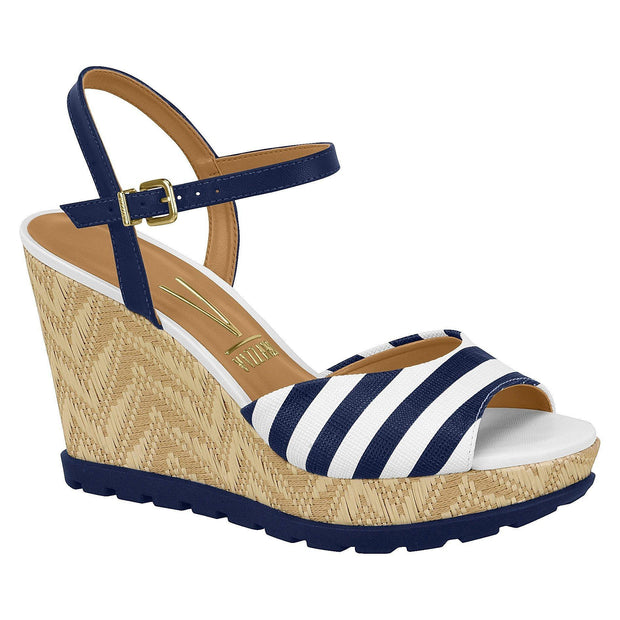 Vizzano 6353-106 Navy/White Stripes Espadrille Wedge with Navy Sole