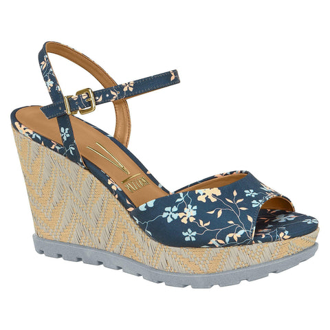 Vizzano 6353-106 Floral Espadrille Wedge in Multi Navy