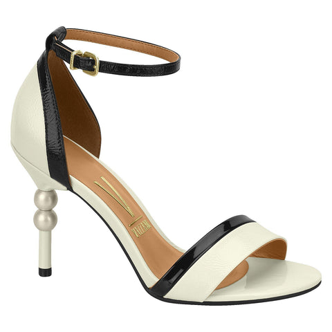 Vizzano 6384-101 High Heel Sandal in White/Black Patent
