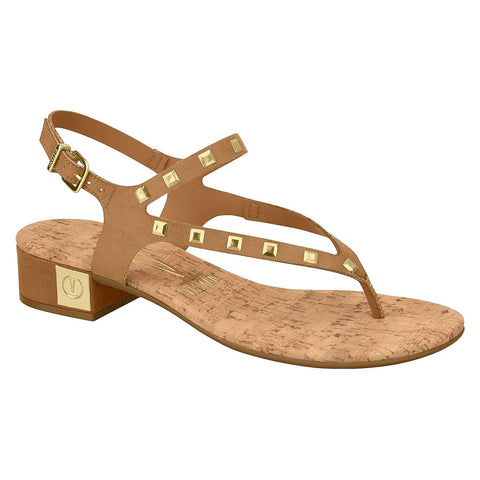 Vizzano 6390-101 Low Heel Studded Sandal in Camel Suede