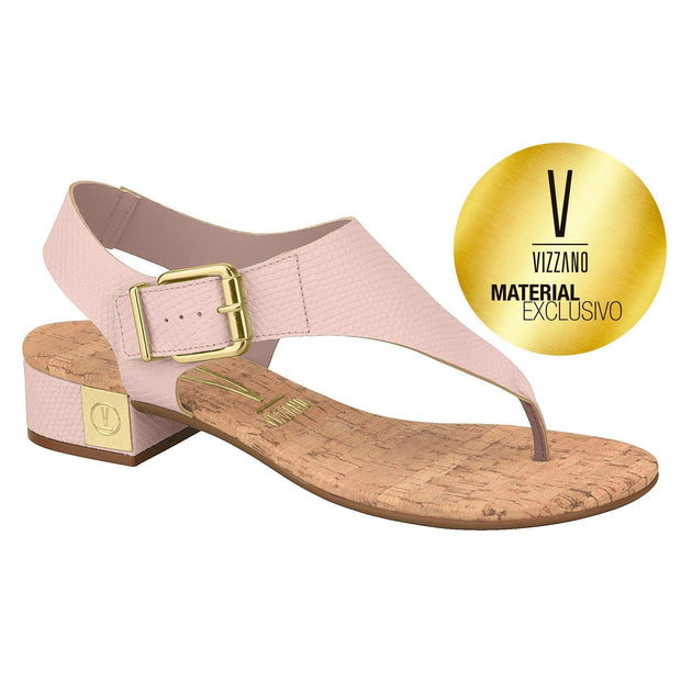 Vizzano 6390-102 Low Heel Sandal in Pink Cobra