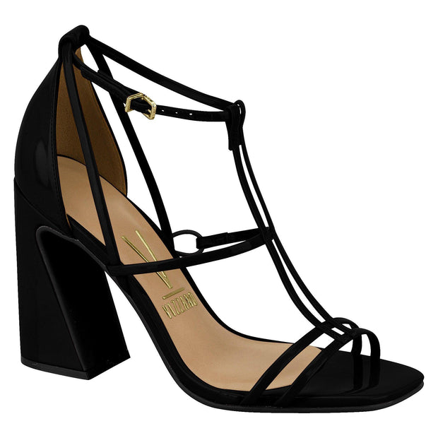 Vizzano 6403-102 Strappy Block Heel Sandal in Black Patent