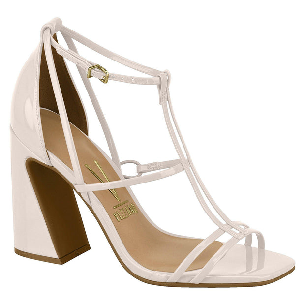 Vizzano 6403-102 Strappy Block Heel Sandal in Cream Patent