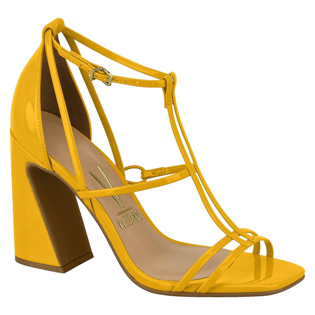 Vizzano 6403-102 Strappy Block Heel Sandal in Yellow Patent