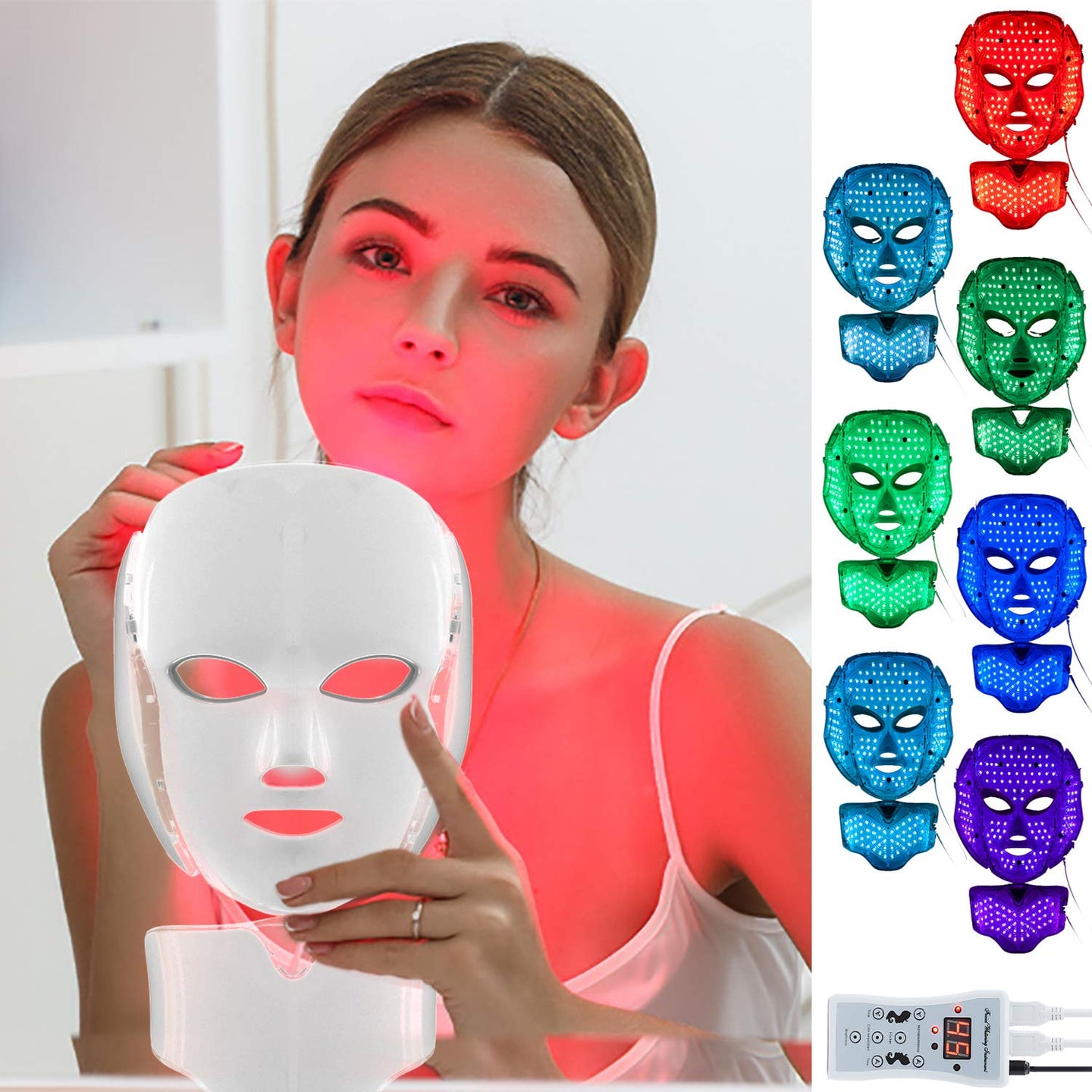 Led Face Mask with 7 Color Facial Skin Deall Mask Proven Light Therapy Acne Photon Mask (White)