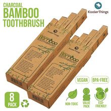 Load image into Gallery viewer, 8 Cepillos de dientes Biodegradables de Bambú Natural de Carbón (Dos paquetes de 4 | cerdas suaves libres de BPA | Biodegradable, Compostable, Ecoamigable, Natural, orgánico, Vegano, Kooler-Things